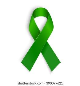 Green ribbon. Scoliosis, Mental health and other awareness symbol.