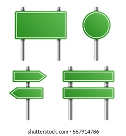 Green Road Sign Set on White Background. illustration