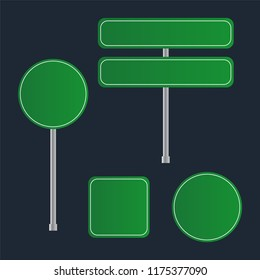 Green Road Sign Set. Sign street. Road green sign. Arrow blank sign