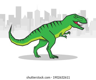 Green roaring tyrannosaurus. Prehistoric carnivorous dinosaur T rex
