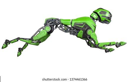Green Robot dog runs on a white background. 3D illustration