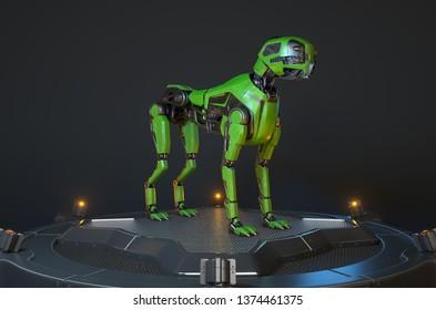 Green robot dog stands on a charging dock. 3D illustration
