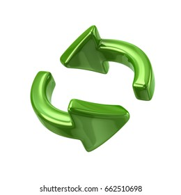 Green rotation arrows icon 3d illustration on white background