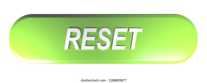A green rounded rectangle push button with the write RESET - 3D rendering illustration