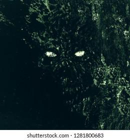 Green scary monster skull illustration. Genre of horror. Scary vampire face. States of mind.