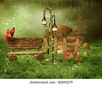 Green scenery with an enchanted fairy garden