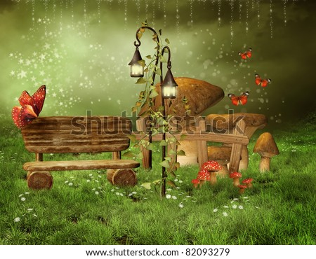 Green Scenery With An Enchanted Fairy Garden
