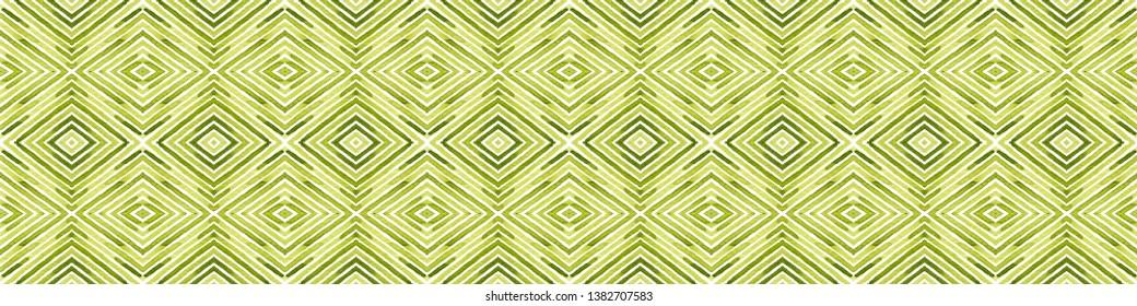 Green Seamless Border Scroll. Geometric Watercolor Frame. Amazing Seamless Pattern. Medallion Repeated Tile. Likable Chevron Ribbon Ornament.