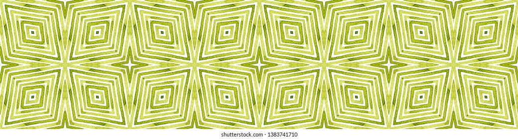 Green Seamless Border Scroll. Geometric Watercolor Frame. Amazing Seamless Pattern. Medallion Repeated Tile. Excellent Chevron Ribbon Ornament.