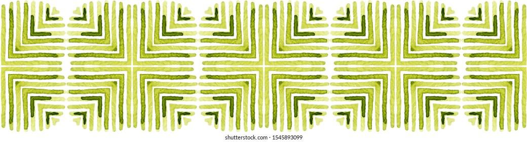 Green Seamless Border Scroll. Geometric Watercolor Frame. Amazing Seamless Pattern. Medallion Repeated Tile. Fabulous Chevron Ribbon Ornament.