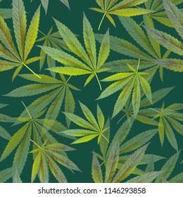 green seamless pattern. leaves cannabis marijuana. texture for design textile, wallpaper