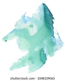 green, sea-water color watercolor stain, random shape, for design with uneven edges.