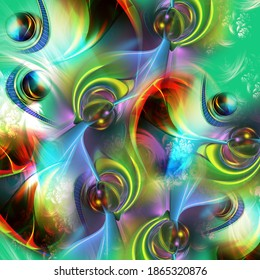 green shade 3D fractal art work with shade of red,yellow,black and multi color art design