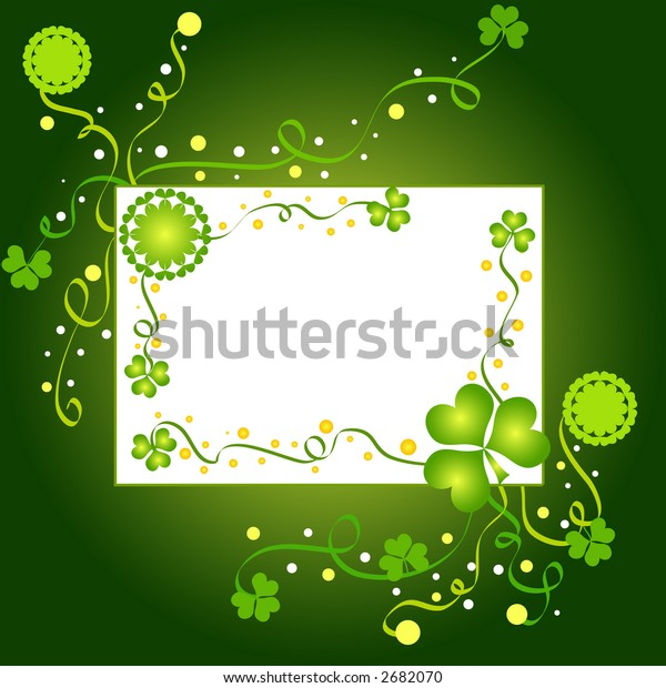 Green shamrock frame with white blank space