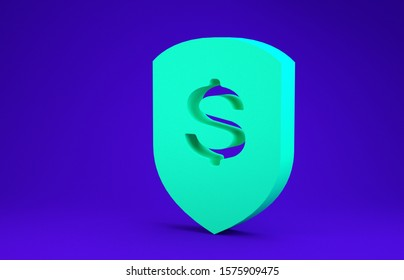 Green Shield and dollar icon isolated on blue background. Security shield protection. Money security concept. Minimalism concept. 3d illustration 3D render