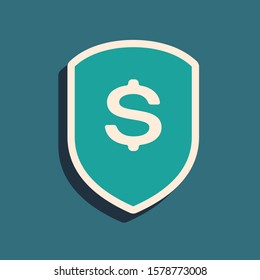 Green Shield and dollar icon isolated on blue background. Security shield protection. Money security concept. Long shadow style.