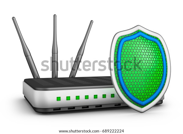 Green shield and a router. 3d rendering.