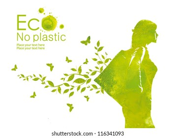 Green shopping bag. Illustration environmentally friendly planet.A person with eco bag instead of a plastic package from watercolor stains.Think Green. No plastic. Ecology Concept.