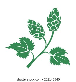 Green silhouette hops icon with leaves and cone like flowers used in the brewing industry to add the bitter taste to beer