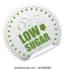 Green and Silver Low Sugar Sticker, Icon, Badge, Sign or Label Isolated on White Background
