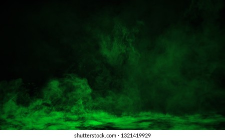 Green smoke on the floor. Isolated texture overlays background .