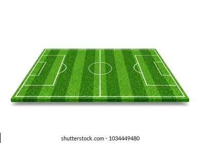 Green soccer field with white lines. Object over white background