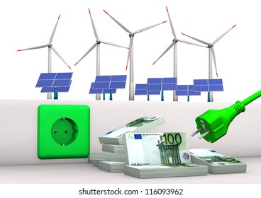 Green socket with green plug, euro banknotes, solar panels and wind towers. White background.