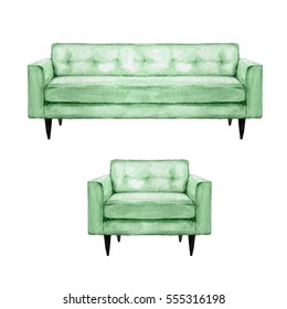 Green Sofa and Armchair - Watercolor Illustration.