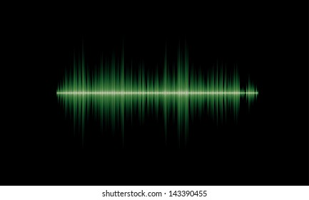 Green sound or music waveform with sharp peaks