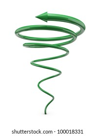 Green spiral line with arrow isolated on white background