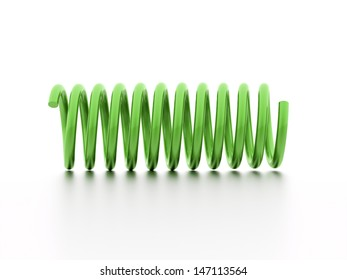 Green spiral string isolated on white background