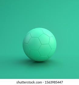 Green sport equipment football ball on green background, solid background, flat background, single color, 3d Rendering