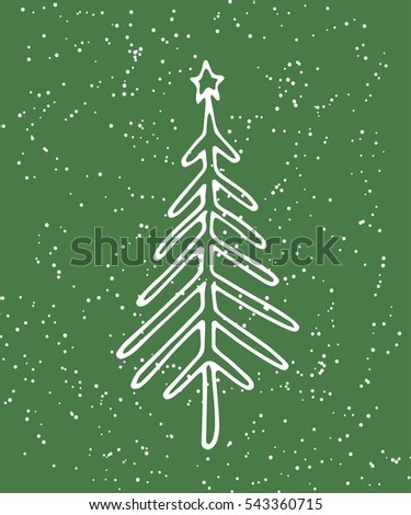 green spruce snow hand drawing template stock illustration 543360715