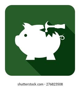 Green Square Broken Piggy Bank With Hammer Flat Long Shadow Style Icon, Label, Sticker, Sign or Banner Isolated on White Background