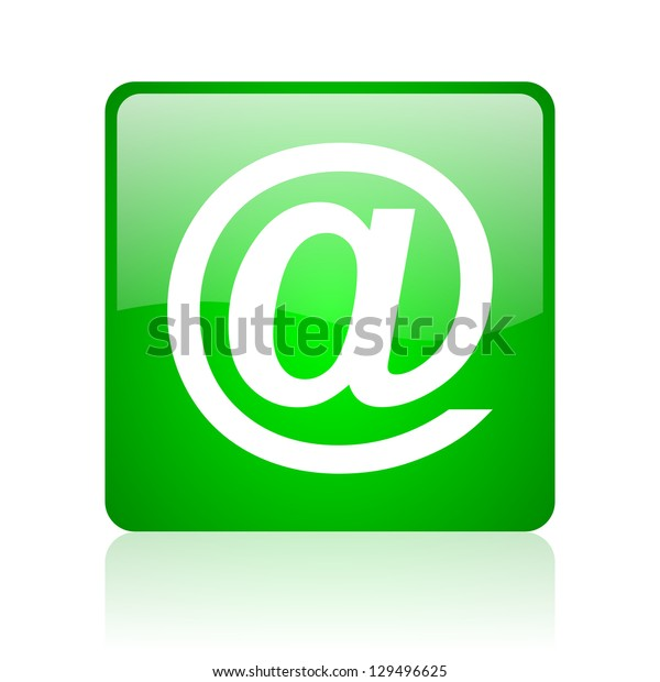 at green square web icon on white background