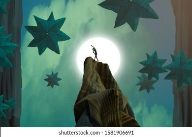 Green star. Surrealism. Dreamlike abstract imaginary image. 2d illustration. Human standing on an edge. Imaginary world. Alternative realm.