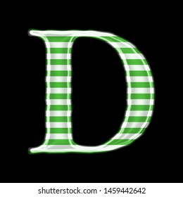 Green striped metallic letter D in a 3D illustration with a white & green color striped metallic glass surface and loose elegant font isolated on a black background