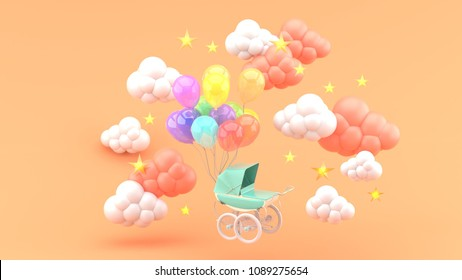 Green Stroller and floating balloons surrounded by clouds and stars on an orange background.-3d render.
