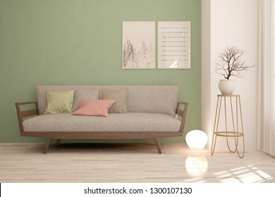 Green stylish minimalist room with sofa. Scandinavian interior design. 3D illustration