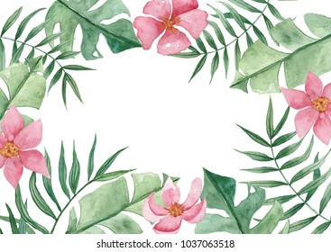 Green summer tropical background with exotic palm leaves and flowers. Watercolor floral backround