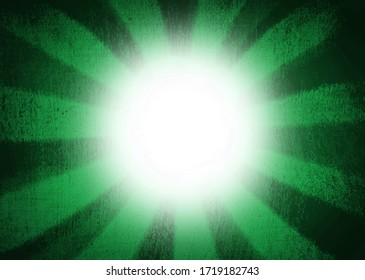 Green sunburst background and white glowing centre with copy space