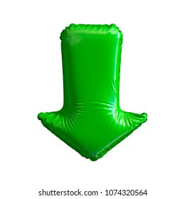 Green symbol arrow made of inflatable balloon isolated on white background. 3d rendering