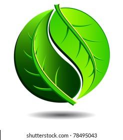 Green symbol concept using Yin Yang in a leaf design - raster version