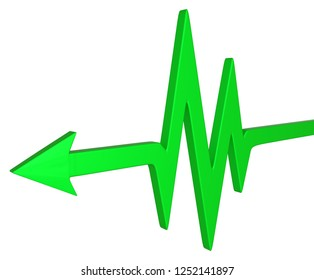Green symbolic arrow healthcare cardio, 3d illustration, horizontal, over white, isolated