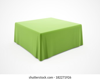 Green table cloth rendered on white background