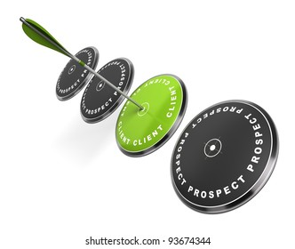 green target with the word client written on it three black ones with the word prospect, an arrow hitting the center, white background