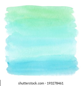 Green and Teal Blue Ombre Watercolor Background Wash