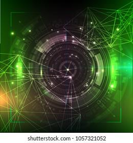 Green technology background. Futuristic  illustration. HUD element. Big data