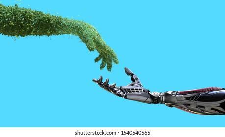 Green technology conceptual design, human arm covered with grass and lush and robotic hand on flat background, 3d render