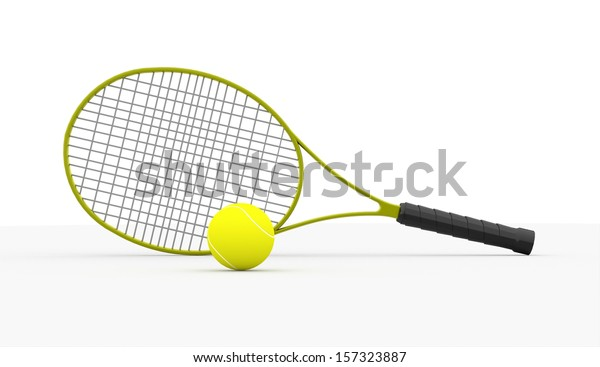 Green tennis racket with ball on white background